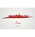 Turin skyline in red vector