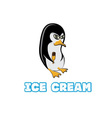 Penguin in sunglass holding ice cream vector