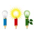 Pencils and light bulbs vector