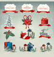 Big collection of christmas icons and design vector