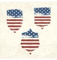 Shield shaped american flag set vector