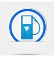 Gas pump icon is blue on a white background in vector