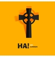 Burial tomb cross carved cut out of paper vector