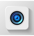 Blue camera lens icon on white vector