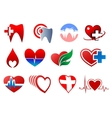 Cartoon teeth and hearts for dentistry design vector