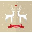 Two deer on christmas greeting card vector