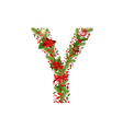 Christmas floral tree letter y vector