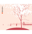 Park lake with boats vector