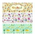 Set colorful children banners in cartoon style vector