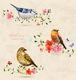 Collection of cute birds watercolor painting vector