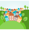 Hilly landscape with houses vector