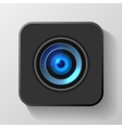 Blue camera lens icon on black vector