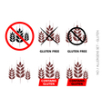 Brown gluten free signs isolated on white b vector