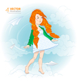 Girl with paper plane vector