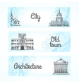 Set of banners with buildings vector