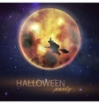 Halloween with full moon and witch on the night vector