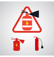 Set of fire extinguishers isolated on silver backg vector
