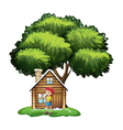 A house under the tree with a little girl playing vector