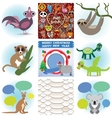 Set of funny animals greeting cards happy birthday vector