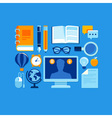Education icons in flat style and bright colors vector