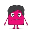 Funny cube dude with hair square character vector