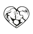 Couple kissing in the heart vector