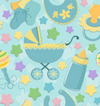 Seamless with baby gear vector