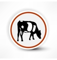 Sign of grazing cows in red on a white background vector