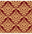 Maroon and orange damask seamless pattern vector