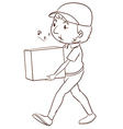 A plain sketch of a delivery man vector