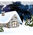Brick house in a snowy forest vector