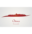 Ottawa skyline in red vector