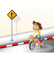 A girl biking at the road vector