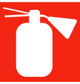 Fire extinguisher isolated on red background icon vector