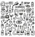 Alcohol bottles - doodles vector