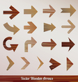Set arrows wooden vector