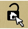 Lock house icon vector
