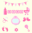 Baby girl set of design element for scrapbook vector