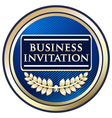 Business invitation blue label vector