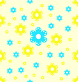 Seamless pattern yellow and blue flower shapes vector