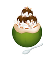 Coconut ice cream with nuts and chocolate vector