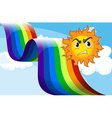 A sun frowning near the rainbow vector