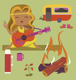 Girl guitarist fire and mobile house vector