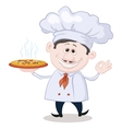 Cook holds a hot pizza vector