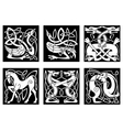 Celtic ornaments with animals vector