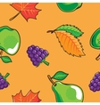 Seamless pattern with autumn fruits and leaves vector
