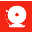 Fire alarm icon isolated on red background vector