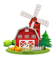 A red barnhouse at the farm vector
