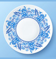 Blue plate with floral ornament in gzhel style vector