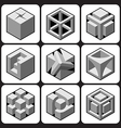 Cube icon set 1 vector